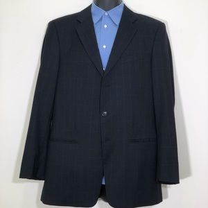 Armani Collezioni Blue Windowpane 3B Sport Coat